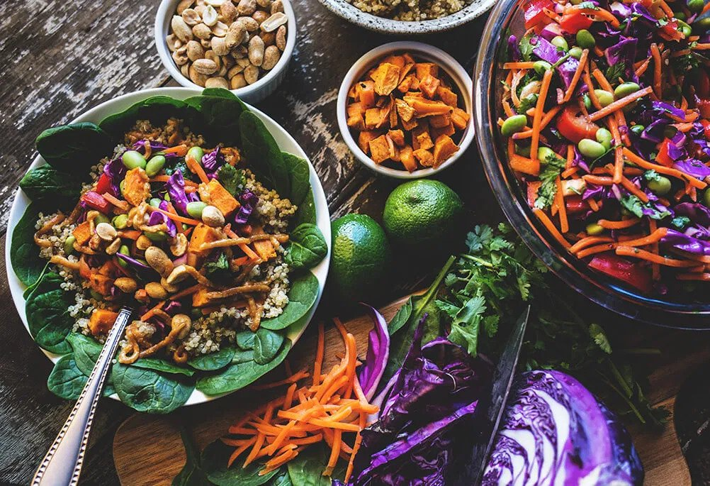 various different salads on a tale